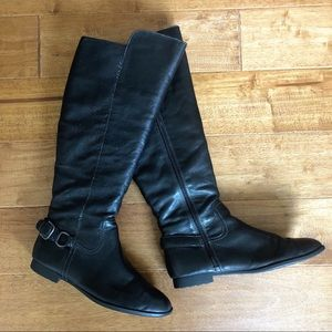 Extended Calf Black Riding Boots